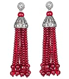 KENNETH JAY LANE -TASSEL & PAVE CRYSTAL 12 STRAND RUBY (RED) BEAD EARRING