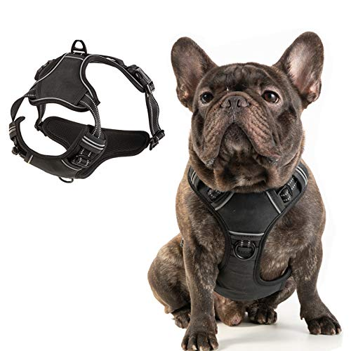 PUPPYGOO Dog Harness,No Pull Pet Harness,Reflective No Choke,Adjustable Vest for Outdoor,Soft Padded Dog Vest with Easy Control Handle for Small to Large Dogs,Black,M