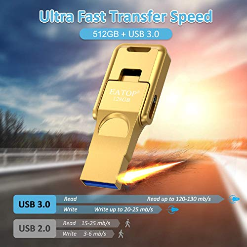 iPhone Flash Drives 128GB iPhone Photo Stick, EATOP iPhone USB 3.0 Memory Photo Stick for iPhone 11 Pro X XR XS MAX, iPhone Flash Drive with 3 Ports Compatible for iPhone iPad Android Computer (Gold)