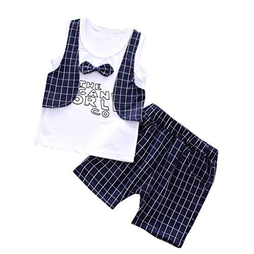 Julhold Kid Baby Meisje Jongen Vrije tijd Gentleman Spot Bow Tie Stripe Print Top T Shirt Gestreepte Korte Outfit Set Nieuwe 0-3 Jaar