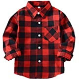 Boys Girls Baby Plaid Shirts Long Sleeve Button Down Flannel Dress Shirt T-Shirt Tops Christmas Clothes (Red Black, 8 Years)