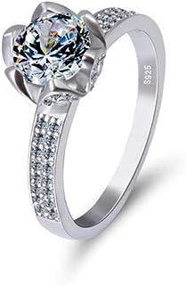 lem Abrillantador de anillosImpresionante Anillo de Compromiso de Plata esterlina con Solitario y circonita cúbica Diamond...