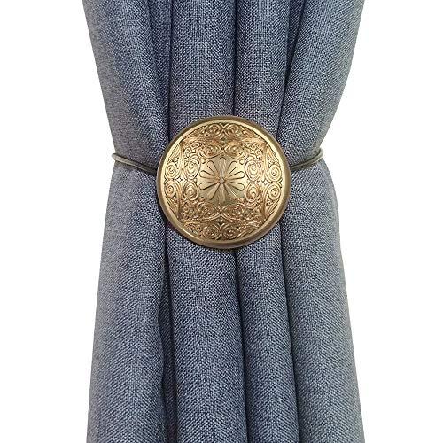 Vineland Boho Magnetische Vorhang-Raffhalter, 2er-Pack, 40,6 cm Seilhalterung, Metallic, dekorative Halterung, praktische Raffhalter für Fenster, Gardinen, Duschvorhänge 2 Pack gold