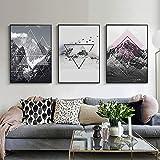 Línea geométrica nórdica arte abstracto de la pared pintura en lienzo impresiones carteles en blanco y negro para la sala de estar decoración del hogar contratada moderna 50x70cmx3 sin marco