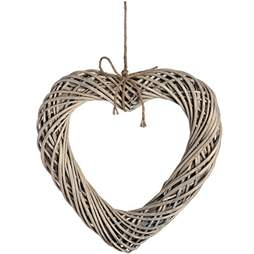 Large 50cm Heart Wicker Wood Wall Art Wreath Rope Decoration Gift