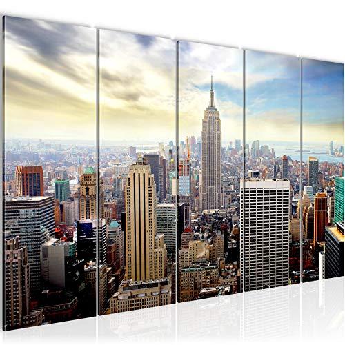 Runa Art Cuadro XXL Nueva York 200 x 80 cm Azul 5 Piezas - Made in Germany - 603455b