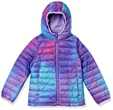 Amazon Essentials Girl's Lightweight Water-Resistant Packable Hooded Puffer Jacket Outerwear, Purple Ombre, L