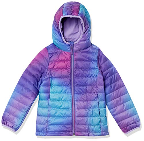 Amazon Essentials Lightweight Water-Resistant Packable Hooded Puffer Outerwear-Jackets, Lila Ombre, US M (EU 128 cm)