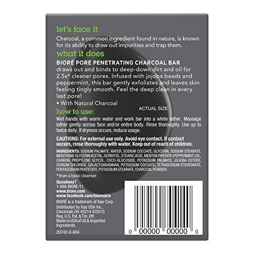 Bioré Charcoal Pore Penetrating Bar, 3.77 Ounce, with Jojoba Beads for Gentle Exfoliation of Oily Skin