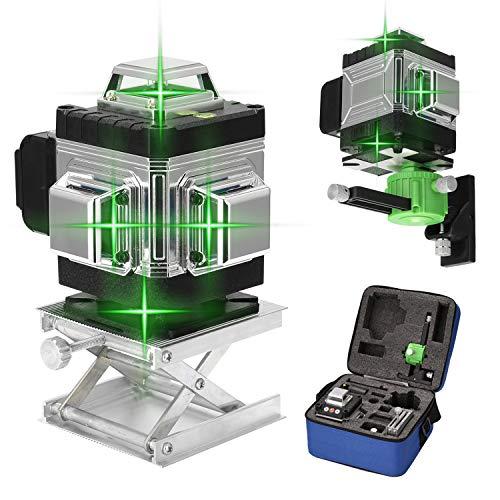 Livella Laser Autolivellante 25M, KKmoon 4 × 360 ° Livella Laser 4D 16 Linee Linea Laser Verde a Croce Orizzontale e Verticale Autolivellante,Generatori di Linea Laser Professionale