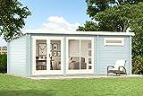 Alpholz Gartenhaus Atrium-E aus Massiv-Holz | Gerätehaus mit 70 mm Wandstärke | Garten Holzhaus inklusive Montagematerial | Geräteschuppen Größe: 598 x 400 cm | Pultdach