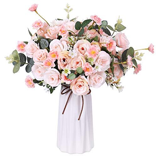 Artificial Rose Bouquets with Ceramics Vase Fake Rose Flowers Decoration for Wedding Table Home Office Decoration (Light Pink)