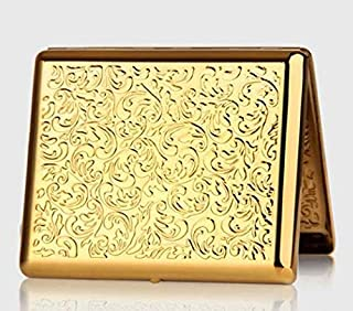 Pure Copper Embossed Arabesque Metal Cigarette Case Cardcase for 100's Cigarettes (Gold) (Color : Gold)