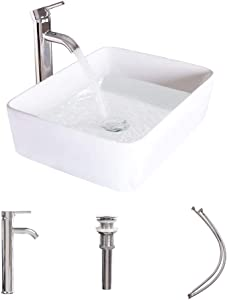 LUCKWIND Bathroom Vessel Sink Ceramic - White Porcelain Lavatory Counter Sink Basin Bowl Chrome Brass Faucet Pop Up Drain Combo Single Hole Above Vanity Top Overflow Rimming(Rectangular Non-overflow)