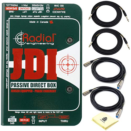 Radial JDI World's Finest Premium Passive DI 1-channel Passive Direct Box with Jensen Transformer and Rugged I-Beam Construction BUNDLE 2 x Senor Instrument Cable 2 x Microphone Cable and Zorro Cloth