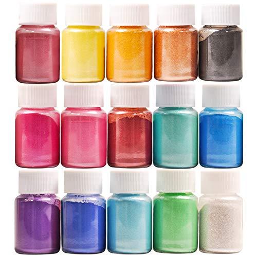 DEWEL 150g(15 farbe x10g)Farbe Metallic,Epoxidharz Farbe Seifenfarbe Set Pigment Mica Pulver...