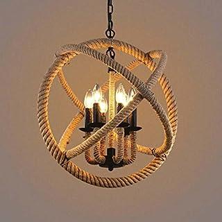 BAYCHEER 6 luces retro cuerda hängel lámpara E14 rústico araña