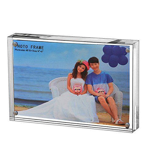 Yakri Clear Acrylic Photo Frame,Magnetic Perspex Picture Holders Table Standing Double Side Displays, 10mm+10mm Thickness Transparent,Stand in Desk &Table Frames (1, 5x7)