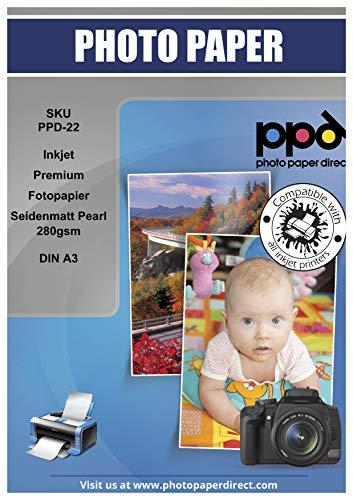 PPD Papel fotográfico Premium con acabado satín para impresión de inyección de tinta 280 g/m² A3 x 20 hojas PPD-22-20