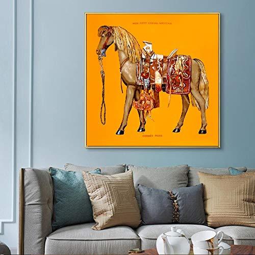 SDFSD Scandinavische stijl print wandkunst poster canvas schilderij abstract aquarel paard modulaire afbeelding voor woonkamer huis decoratie 45x45 cm