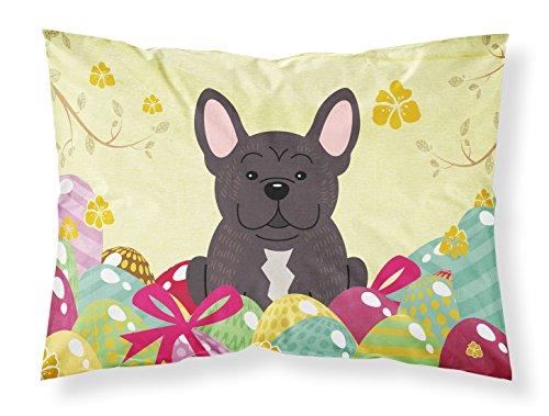 Caroline's Treasures BB6009PILLOWCASE Easter Eggs French Bulldog Brindle Fabric Standard Pillowcase, Standard, Multicolor