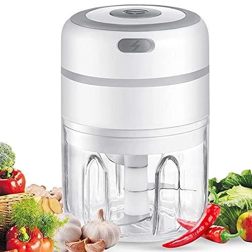 Mini Picadora Electrica Cocina, Machacador de Ajo Eléctrico con Carga USB Trituradora de Alimentos, 3 Cuchillas Afiladas, Utilizado Para Chile,Para Ajo , Pimienta,Nueces Vegetales (250ml)
