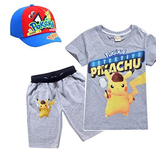 Anime Pokemon Go Cosplay Kostüm T-Shirt Set für Jungen Mädchen Zubehör Hüte Baseball Cap KinderTasche Monster Kleidung Shirts, 3pcs8461gray, 5T