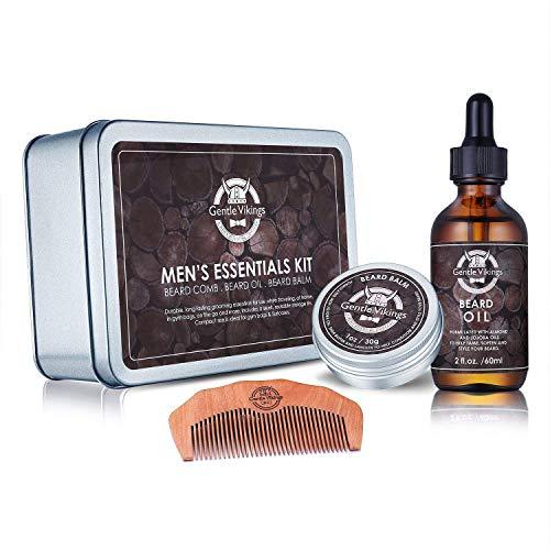 Gentle Vikings Beard Grooming Kit For Men Care - Beard Oil, Beard Balm, Beard Comb,Natural Ingredients, Shaping and Growth Set