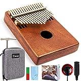 SLLX Kmise Kalimba 17 Clave Dedo Pulgar Piano Instrumento Marib Caoba con Bolsa Acolchada de Gig sintonizador Hammer (Color : A)