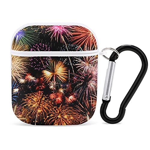 Protective Cover Case for AirPods, Wonderful Firework Print Apple Bluetooth Headset Cover Shock Proof Anti-Scratch Compatiable for Airpods 1st/2nd for Men Women
