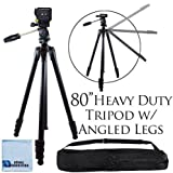 80' Inch Elite Series Professional Heavy Duty w/ Angled Legs, Action Camcorder Tripod for DSLR Cameras + Microfiber Cloth