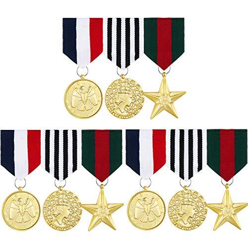 Hicarer 3 Sätze Kostüm Militär Abzeichen Medaille Kampf Hero Medaille Kunststoff Militär Medaille Zubehör für Frauen Männer Mantel Jacke Kostüm
