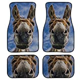 MOVTBA 4 Pieces Pattern Floor Mats for Cars Smiling Farm Donkeys Mammals Floor Carpets for Cars Front & Rear Non-Slip Carpet with Rubber Backing for Car SUV Van & Truck