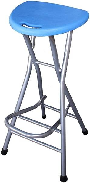 Be Xn 折叠式酒吧凳 28 英寸高凳无靠背塑料酒吧椅子柜台酒吧凳子酒吧家用椅子蓝色 H72xW31cm 28x 12英寸
