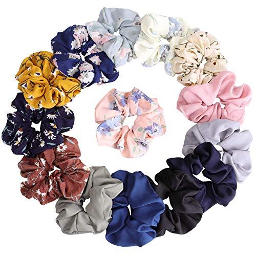 Chiffon-Haargummis / Haarschleifen, Blumenmotiv für Damen , für Pferdeschwanz, 14 Stück: 8 farbige Blumenmotive / 6 einfarbige Varianten
