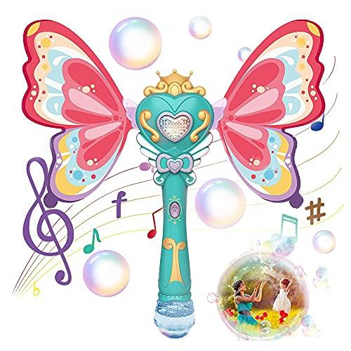 Jiahuade Bubble Machine für Kinder,Bubble Machine,Seifenblasen Stab,Musik Automatisch Seifenblasenspielzeug,Zauberstab Seifenblasenmaschine,Seifenblasen Stab Mädchen