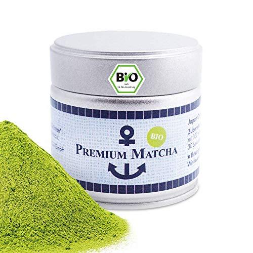 Premium Bio Matcha aus Japan, Ceremonial Grade, Pestizidfrei, Matcha-Pulver extrafein in der 30 g Dose, mild intensive Grünteenote, geeignet für Matcha Latte, Smoothie, Zeremonielle Qualität