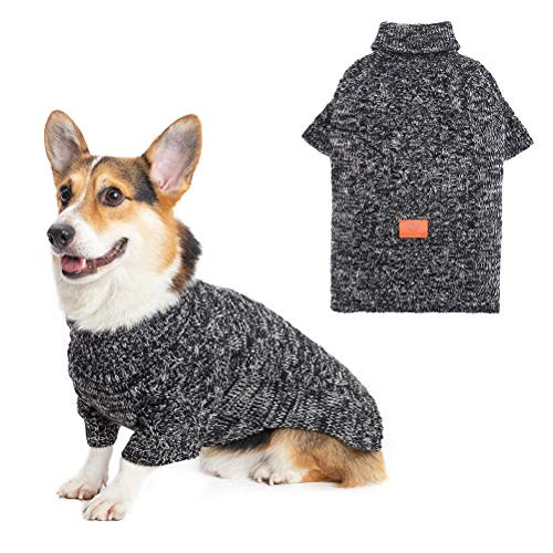 KOOLTAIL Dog Winter Clothes Fleece Sweater - Turtleneck Sweater Dog Vest Cable Knit Clothes Jacket Dogs Winter Apparel with Leash Hole for Small Medium Large Dogs