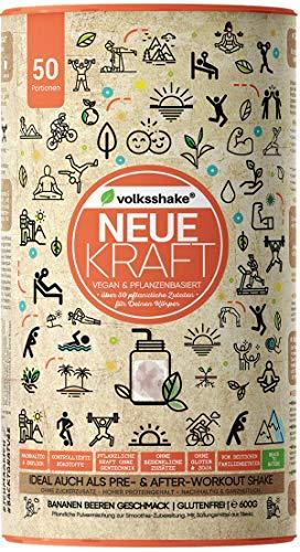 NEUE KRAFT- Kräftigender Smoothie - Banane |VOLKSSHAKE| aus Deutschland | über 40 Naturstoffe wie Guarana, Protein, Kurkuma, Maca, Weizengras, Moringa