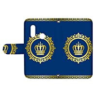 スマQ P20 lite HWV32 / ANE-LX2J 国内生産 カード スマホケース 手帳型 HUAWEI ファーウェイ ピートゥエンティライト 【D.ブルー】 王冠とレース シンプル ami_vd-0248