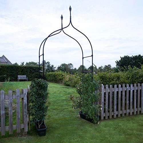 Garden Mile Grand 2.4M décoratif noir métal jardin arche avec double GATES résistant solide tubulaire Arbour pour roses plantes grimpantes SOUTIEN Pergola Voûte d' entrée Décoration de jardin