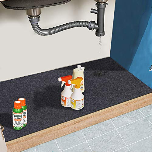 Under The Sink Mat,Cabinet Mat – Absorbent/Waterproof – Protects Cabinets, Premium Shelf Liner, Contains Liquids,Washable(24in x 36in) (24