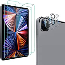 [2+2 Pack] QHOHQ Screen Protector for iPad Pro 12.9 2020 ? 2021 with Camera Lens Protector,Tempered Glass Film,9H Hardness - HD - Anti-Fingerprint - Anti-Scratch,Compatible with Face ID ? Apple Pencil