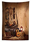 Yeuss Western D¨¦cor Nappe American Texas Style Country Musique Guitare Cowboy Bottes...