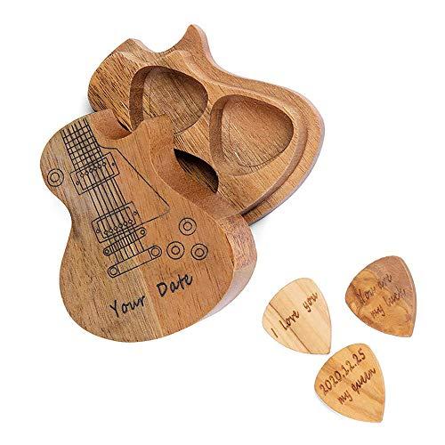 Sawera Personalisierte Holzgitarre Pick Box Gitarren Pick Halter Aufbewahrungskoffer mit 3 Stück/Set Picks Gitarrist Zubehör Veranstalter Geschenke für Gitarrist Musiker