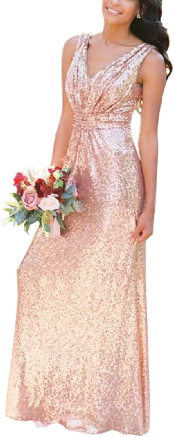 ONLYCE Women's ALine VNeck Sequin Long Bridesmaid Dresses Evening Gowns