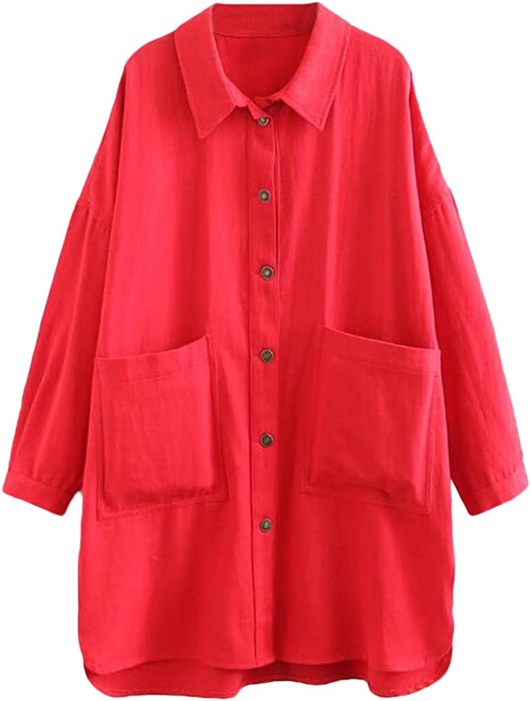 Minibee Women's Cotton Jacket Blouse Button Down Shirts Loose Outfit Lightweight Cardigan Big Pockets Plus Size Coat
