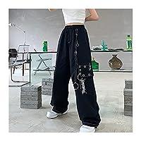 レディースヒップホップパンクパンツ、 ブラックカーゴパンツ女性チェーンワイドレッグヒッピーストリートウェアホワイトズボン緩い女性バギーファッション (Color : Black, Size : L)