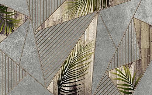 Murales de Pared Papel Pintado Líneas Geométricas De Hoja Verde Fotomurales Dormitorio Sala de Estar Sofá Fondo de Pantalla Decoración de la Pared Murales,200x140cm