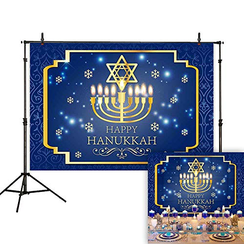 Allenjoy 7x5ft Happy Hanukkah Backdrop Let's Get Lit Menorah Gold Snowflake Glitter Blue Damask Photography Background Jewish Israel Party Decoration Cake Table Banner Photo Studio Booth Props